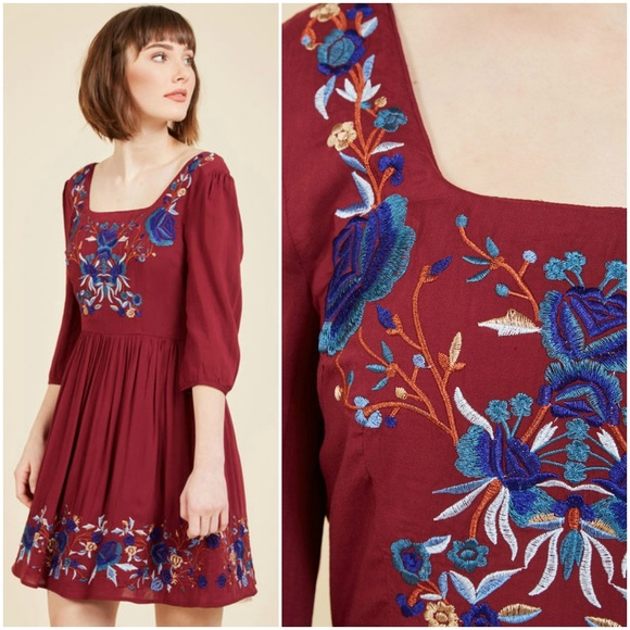 901a12e53231 Modcloth Dresses | Blue Skies For Me Embroidered Mini Dress | Poshmark